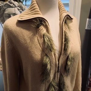 Vintage Preston & York  Sweater Jacket w/Fake Fur